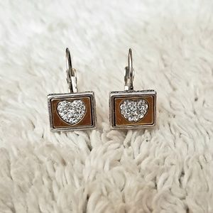 Brighton silver, gold, CZ earrings